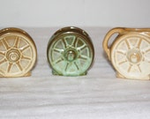 Antique Frankoma Pottery Wagon Wheel dinnerware, One Creamer and Two Sugar Wheels, Antique