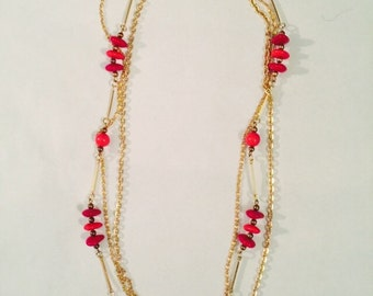 Vintage red bead gold tone chain
