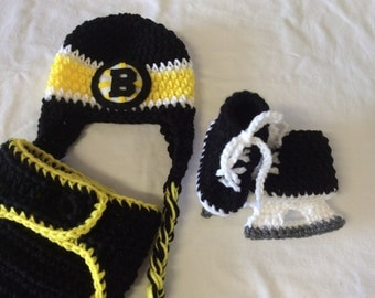 Baby Crochet Hockey Earflap Hat, Diaper Cover, and Skate Booties - Boston Bruins.