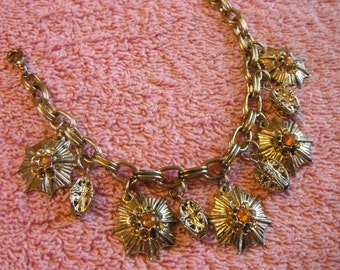 vintage and Retro styled flower charm bracelet