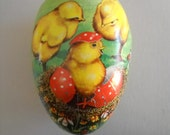 Vintage Western Germany Paper Mache Easter Egg Candy Container 3 Baby Chicks Nest Flowers