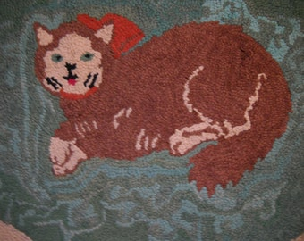 Vintage Handmade Hand Hooked Primitive Style Rug Cat with Bow and Flowers