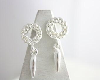 Sterling silver dangle earrings, silver earrings, dangle earrings, charm earrings, stud earrings, knot earrings, jewelry, summer, gift