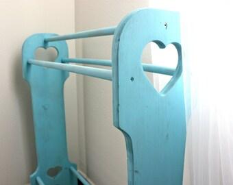 Vintage Wooden Aqua Quilt Rack
