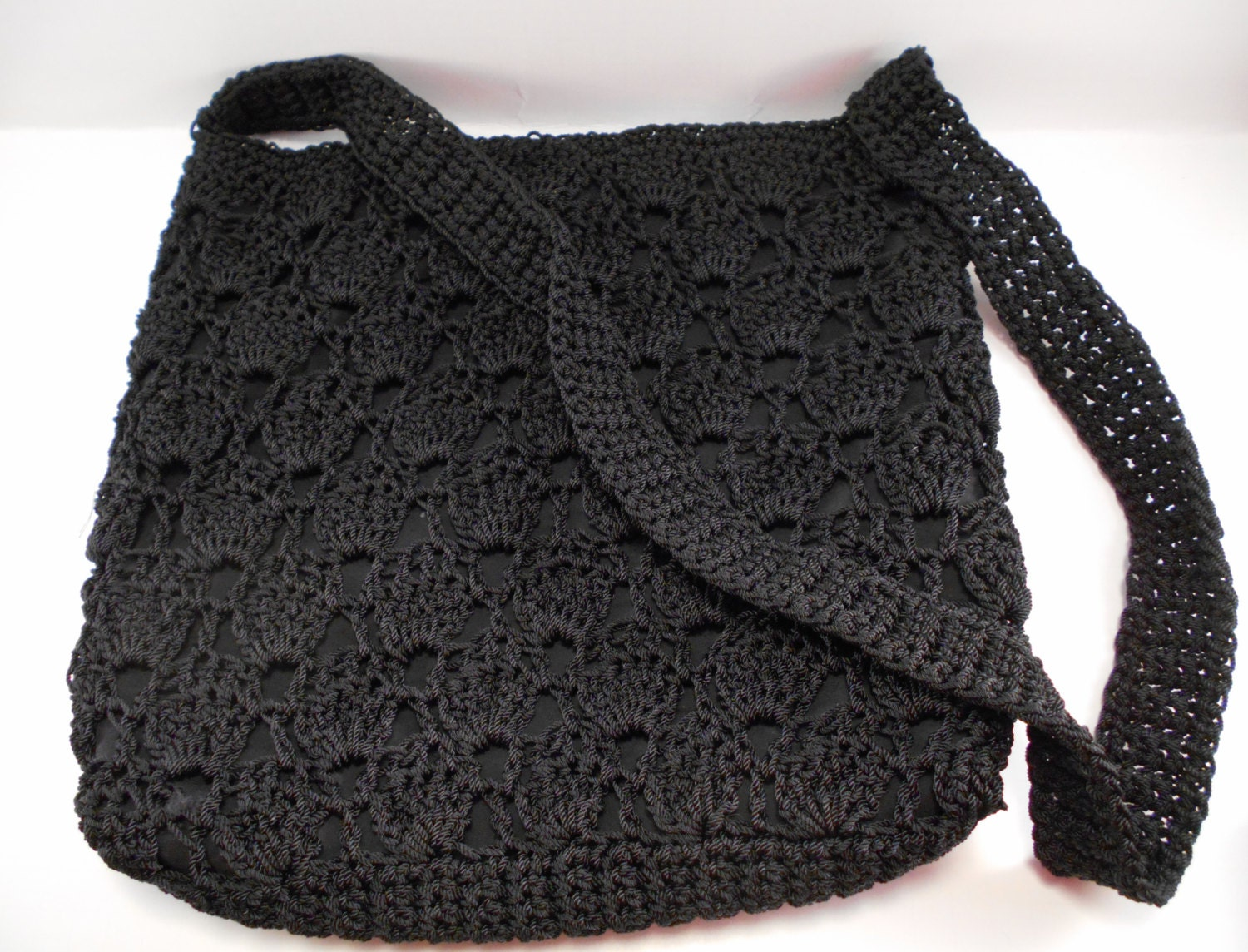 Black Nylon Crochet Crossbody Purse with pockets by AnnsBuyAThread