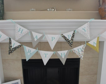 Happy Birthday Pennant Banner, Pastel banner, Kids birthday banner, Adults Birthday Banner