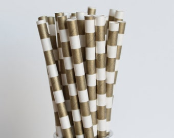 Gold Rugby Horizontal Striped Paper Straws-Gold Straws-Striped Straws-Wedding Straws-Mason Jar Straws-Party Straws-Gold Striped Straws