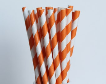 Orange Striped Paper Straws-Orange Straws-Striped Straws-Halloween Straws-Party Straws-Wedding Straws-Mason Jar Straws-Cake Pop Sticks