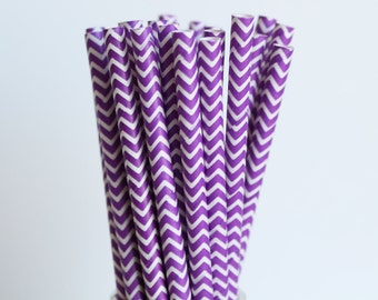 Purple Chevron Paper Straws-Purple Straws-Chevron Straws-Party Straws-Zigzag Straws-Wedding Straws-Mason Jar Straws-Cake Pop Sticks
