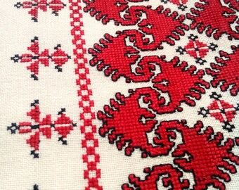 Cross stitch pillow case hand made Hungarian embroidered red black cream pillow case