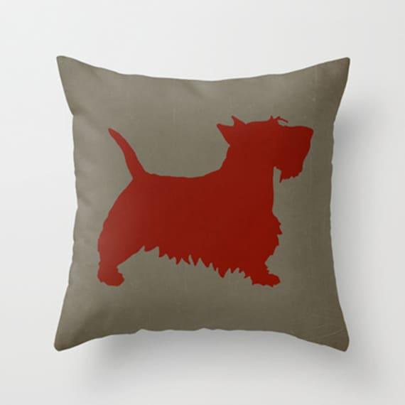Scottie Pillow Cover Red Pillow Dog Pillow Animal Pillow Decorative Pillow Throw Pillow Hip ...