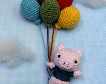 When Pigs Fly Amigurumi (Crochet Pattern, Digital Download) with Balloons, Balloon, Piggy, Baby Gift Nursery Gifts, Newborn, Plushie Rainbow