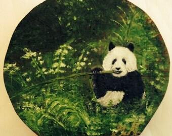 Happy Panda - Wild Life on Wooden Box - Original Painting