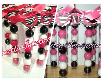 12 Pink and Black Zebra Print Minnie Mouse Gumball Favors. Zebra favors. Zebra print.