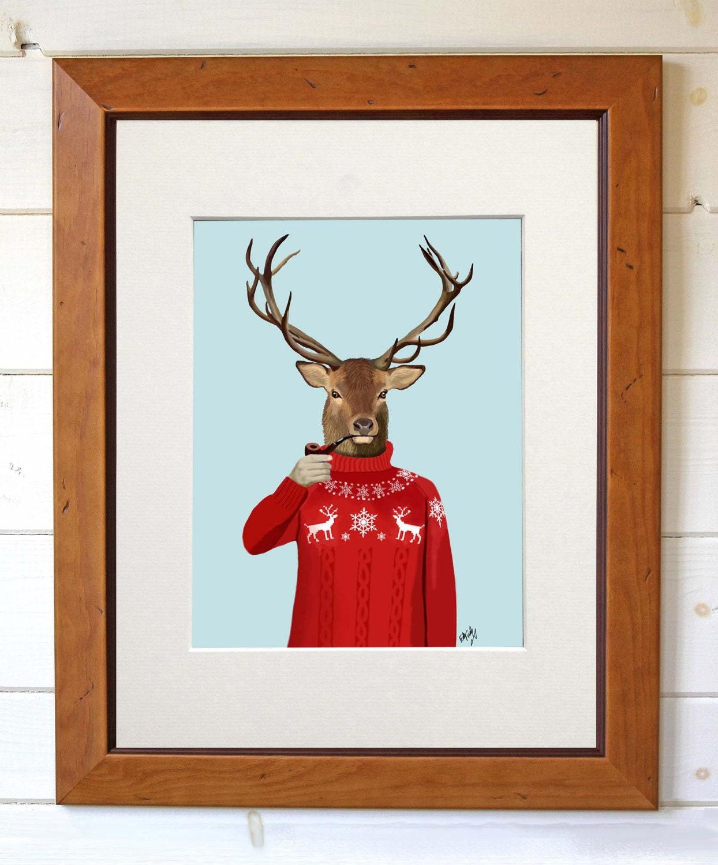 deer in ski sweater deer print man cave art man by loopylolly. Black Bedroom Furniture Sets. Home Design Ideas