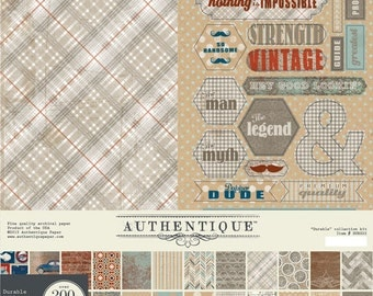 """AUTHENTIQUE Durable Collection 12"""" X 12"""" Collection Kit, 12 Double-sided Papers with Stickers and Die Cuts, Father's Day Scrapbook"""