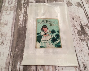9 Bags! St. Patrick's Day Gift or Favor Bag, St. Patrick's Day Glassine Treat Bag