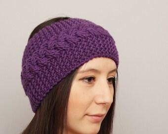 Knitted headband , woman headband  ,ear warmer,purple
