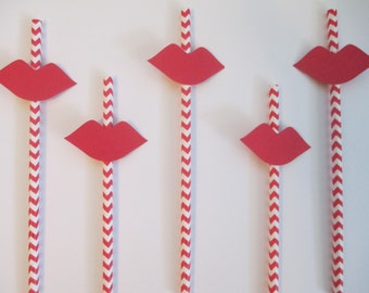 Lips Straws,Bridal Shower straws,Lips on a stick,Bachelorette straws,red and white straws,Red Lips Party Straws,Lip,Kiss party straws