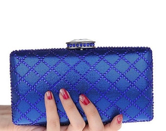 Shining Blue Crystal Wedding party Evening Clutch Bag great gift