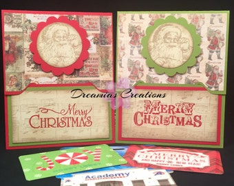 Set of 2 Vintage Handmade Christmas Gift Card Holder