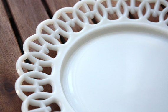 White Milk Glass Decorative Plates Art Deco Lace Edge Plates