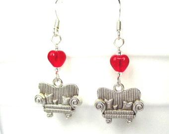 Valentine's Day earrings - Loveseat earrings - Red heart earrings - Cute earrings - Novelty earrings - Valentine gift for her - UK