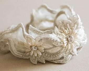 Ivory wedding garter set - Style R39