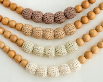 Brown nursing necklace choose one of 4 colors - teething necklace