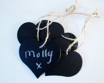 Four Small / Mini Chalkboard Hearts - chalk board blackboard hearts; rustic vintage wedding photo prop, table place names, gift tag