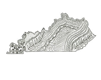 """Kentucky State Map, Ink Illustration, 5""""x7"""" or 8""""x10"""" Print"""