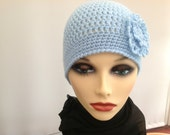 Ladies Crochet Hat in Pale Blue with nice Crochet Flower. Chemo Hat Nice and Warm.