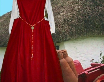 FREE SHIP SCA Garb Choice Color Sideless Surcote Medieval Renaissance Gown LinenBld lxl