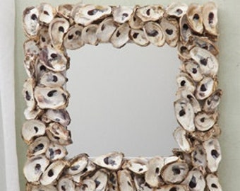 Oyster Shell Square Mirror, Handmade