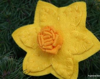 Handmade Felt Daffodil Brooch