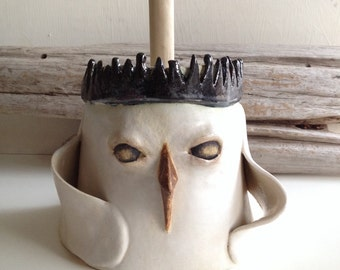 Crowned Bird Plunger Cover, Toilet brush cover