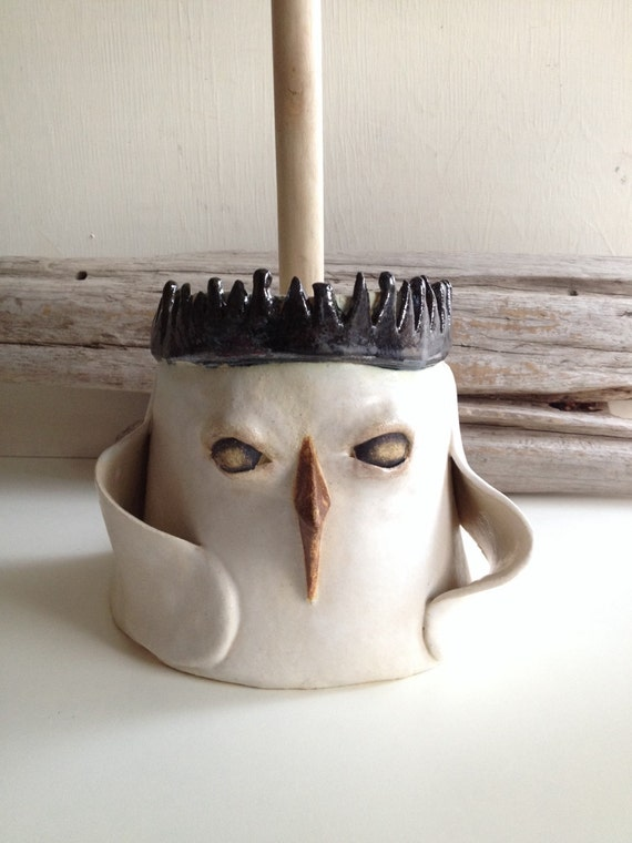 items similar to crowned bird plunger cover toilet brush cover on etsy. Black Bedroom Furniture Sets. Home Design Ideas