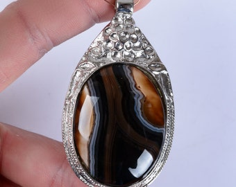 U0294 65mm Brazilian agate oval pendant