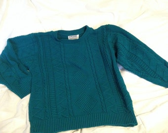 Alfred Dunner turquiose 80's cable knit sweater