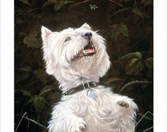 West Highland Terrier Limited Edition Print. Personally signed and numbered by Award Winning Artist JOHN SILVER. jsfa009