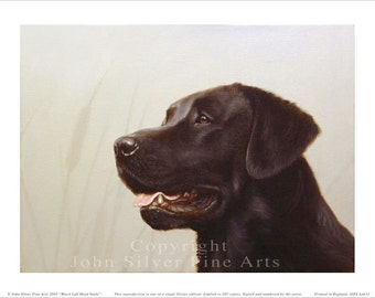 Black Labrador retriever Limited Edition Print. Personally signed and numbered by Award Winning Artist JOHN SILVER. jsfa013