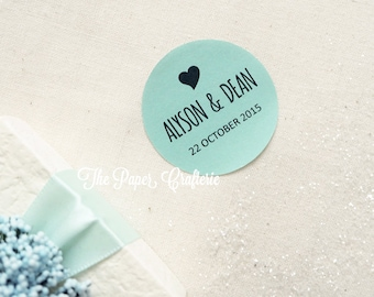 Personalised Stickers Names & Wedding Date Mint Green Round Heart