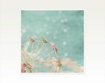 Carnival Nursery Art, Ferris Wheel Photography, Kids Wall Art, Pastel Colors, Bokeh Photo - Candy Wheel