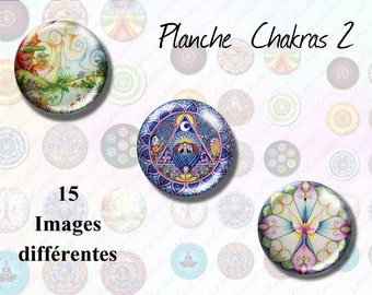 Digital Collage Sheets chakra, 1 inch circles Printable Images - Crafts, Bottle Caps, Earrings