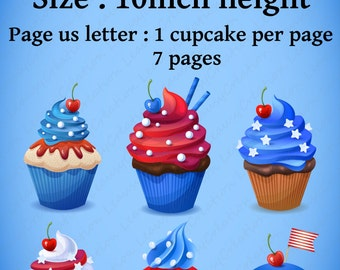 USA cupcake - Clipart Use commercial, photoshop image,