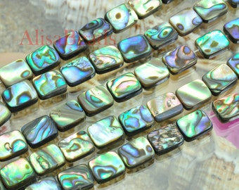 Abalone,flat rectangle,8x10mm,beads,15 inches