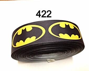 "3 or 5 yards - 1.5"" Black Batman inspired  Grosgrain Ribbon Hair bow"