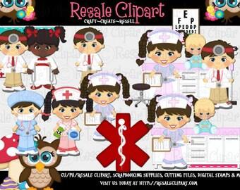 DIGITAL SCRAPBOOKING CLIPART - Doctor & Nurse Brunette