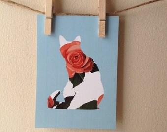 "Rose Kitten Print 5x7"""