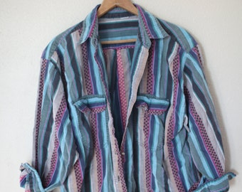 vintage oversized 1980's striped western button up shirt *